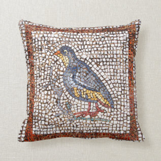 Kos Bird Mosaic Throw Pillow at Zazzle