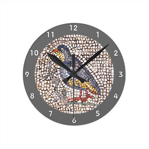 Kos Bird Mosaic Wall Clock Black Edge