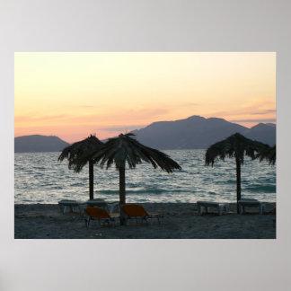 Kos Island Beach Sea Mountain Greece poster