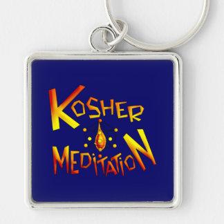 Kosher Meditation Silver-Colored Square Keychain