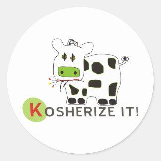 Kosherize it Cow Classic Round Sticker