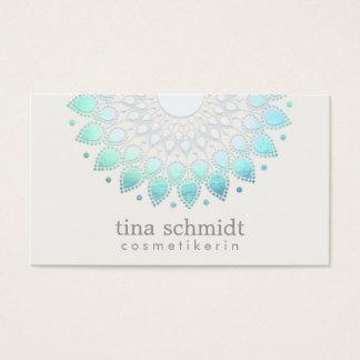 Kosmetologie Elegante Kreis Hellblau Weiß Business Card