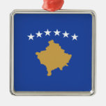 Kosovo - bandera kosovar adorno navideño cuadrado de metal