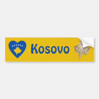 Kosovo Flag Heart + Map Bumper Sticker