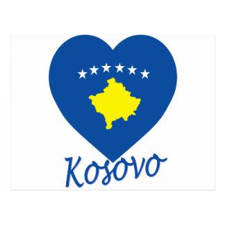 Kosovo Flag Heart Postcard