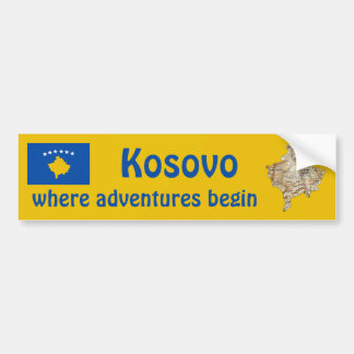 Kosovo Flag + Map Bumper Sticker