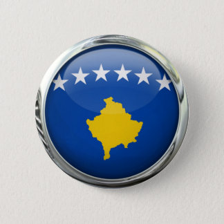 Kosovo Flag Round Glass Ball Pinback Button