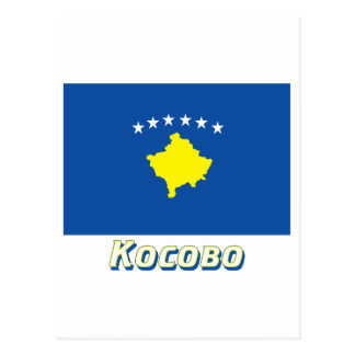 Kosovo Flag with name in Russian Postcard