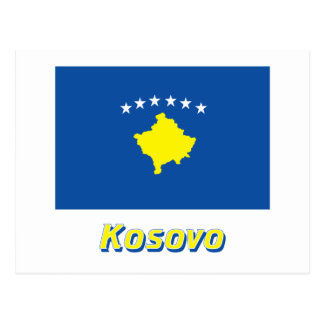 Kosovo Flag with Name Postcard