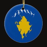 Kosovo Gnarly Flag Ceramic Ornament