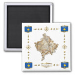Kosovo Map + Flags Magnet
