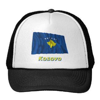 Kosovo Waving Flag with Name Trucker Hats