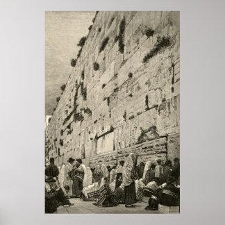 Kotel Western Wailing Wall Buraq Jerusalem Vintage Poster