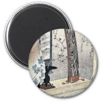Koto and robe stand by Utagawa, Kuniyoshi Ukiyoe Fridge Magnets