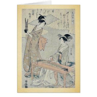 Koto and Sho panpipes by Hosoda Eishi Ukiyoe Card