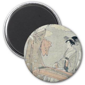 Koto and Sho panpipes by Hosoda, Eishi Ukiyoe Fridge Magnet