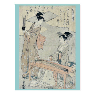 Koto and Sho panpipes by Hosoda Eishi Ukiyoe Post Card