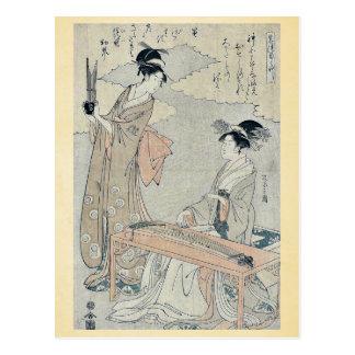 Koto and Sho panpipes by Hosoda Eishi Ukiyoe Post Cards
