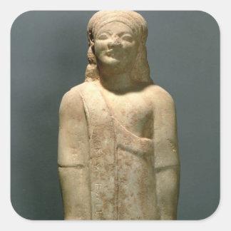 Kouros Dionysermos, Griego, período arcaico, c.600 Pegatina Cuadrada