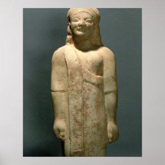 Kouros Dionysermos, Griego, período arcaico, c.600 Póster