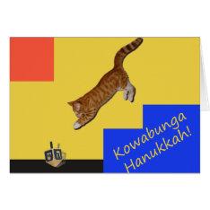 Kowabunga Cat Hanukkah Card at Zazzle