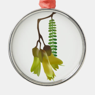 Kowhai Round Metal Christmas Ornament