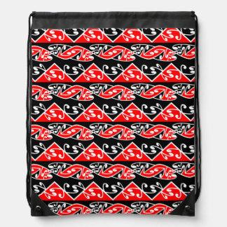 Kowhaiwhai Traditional Maori Koru Pattern Drawstring Backpack