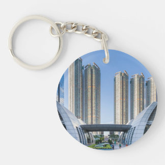 Kowloon Station Union Square, Hong Kong Single-Sided Round Acrylic Keychain