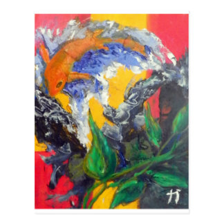 koy-fish painting postcard