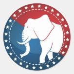 Kozzi-illustrated-image-of-a-elephant-badge-5000x5 Classic Round Sticker