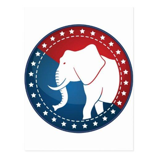 Kozzi-illustrated-image-of-a-elephant-badge-5000x5 Tarjeta Postal