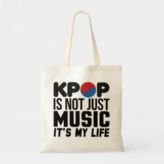 Kpop Is My Life Music Slogan Graphics Tote Bag