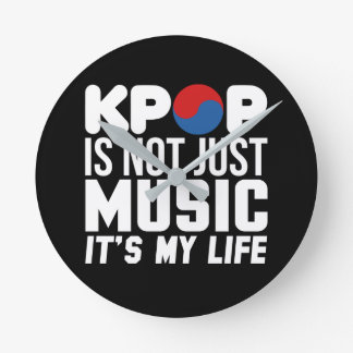 Kpop Is My Life Slogan Graphics (dark) Round Clock