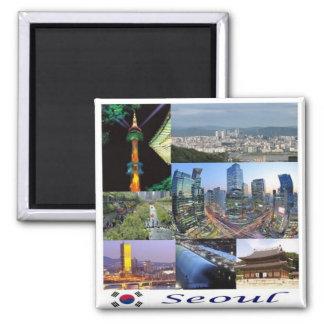 KR - Corea del Sur - Seul - mosaico - collage Imán Cuadrado