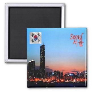 KR - Corea del Sur - Seul por noche Imán Cuadrado