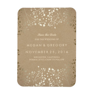 Kraft and gold Baby's Breath Save the Date Magnet