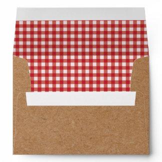 Kraft and Red Gingham Envelopes BBQ Picnic