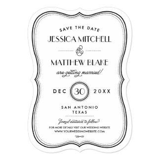 Kraft Art Deco Save the Date Card