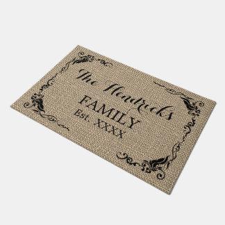 Kraft Beige Brown Faux Jute Texture Family Name Doormat