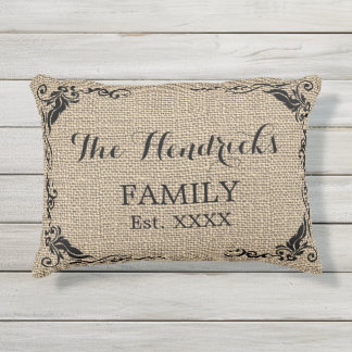 Kraft Beige Brown Faux Jute Texture Family Name Outdoor Pillow