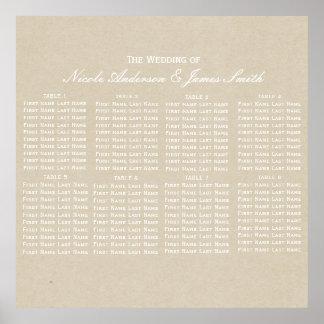 Kraft Brown Rustic Modern Wedding Seating Chart