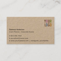 Kraft Business Cards with Photo & Company Logo