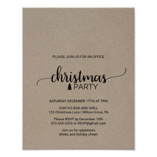 Kraft Calligraphy Office Christmas Party Invite Poster