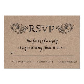 Kraft cardboard floral frame initials wedding RSVP Card