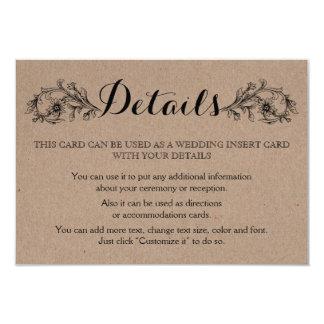 Kraft cardboard floral initials wedding insert card