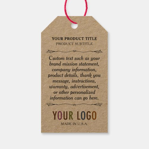 Kraft Custom Printed Retail Hang Tags with String