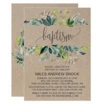 Kraft Foliage Baptism Invitation