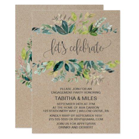 Kraft Foliage Let's Celebrate Engagement Party Invitation