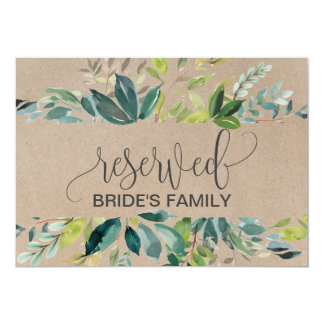 Kraft Foliage Reserved Sign Card