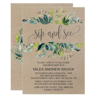 Kraft Foliage Sip and See Invitation